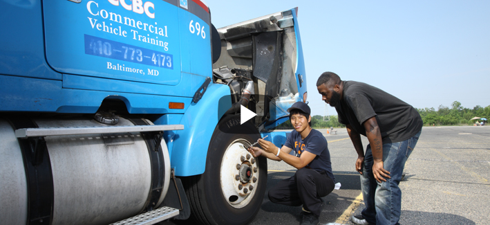 Students working toward getting their Commercial Driving (CDL) certificate