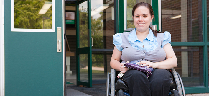 Female student in her wheel chair