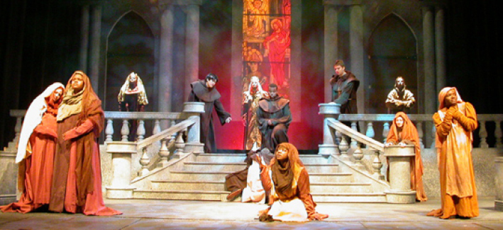 A CCBC Theatre production, actors on stage in medieval costumes