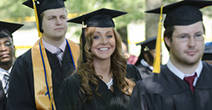 Three CCBC graduates process on commencement day